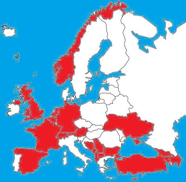 Zaznaczone na czerwono są państwa gdzie procent muzułmanów przekroczył 15 proc., a w znacznej większości z nich wskaźnik ten zbliża się do 40 proc..