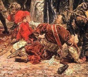 """Jan Sucharzewski, poseł kaliski protestujący przeciw Konstytucji 3 maja, fragment obrazu Jana Matejki """"Konstytucja 3 maja 1791"""""""